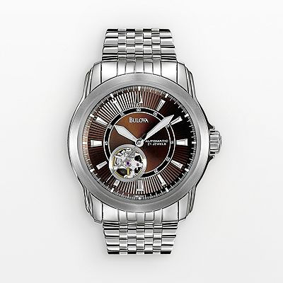 Bulova Stainless Steel Automatic Skeleton Watch - Men
