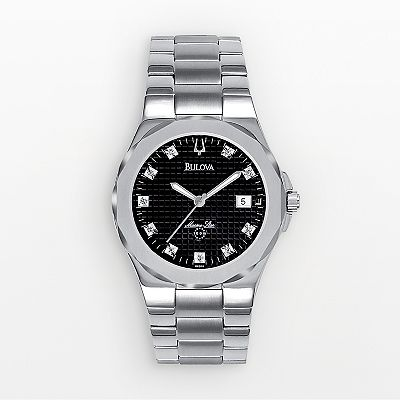 Bulova Marine Star Stainless Steel Diamond Accent Watch - Men