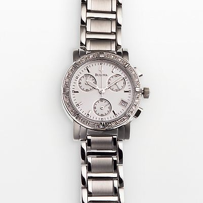 Bulova Stainless Steel Diamond Accent Chronograph Watch - Women