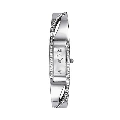 Bulova Silver Tone Crystal Bangle Watch - Women
