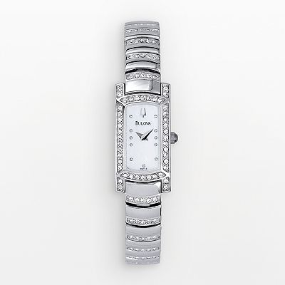 Bulova Stainless Steel Mother-of-Pearl Crystal Watch - Women
