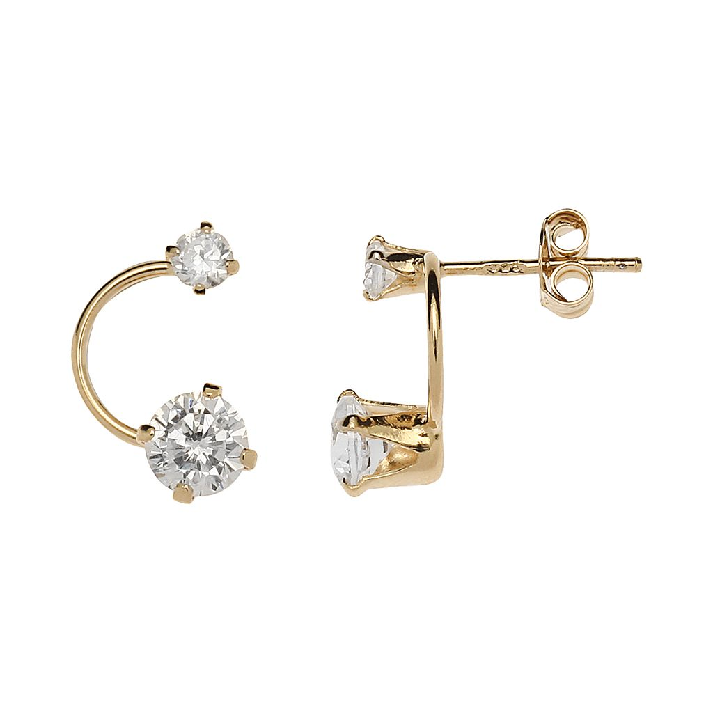 24k Gold-Over-Silver Cubic Zirconia Curved Drop Earrings