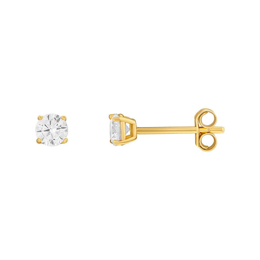 24k Gold-Over-Silver Cubic Zirconia Stud Earrings