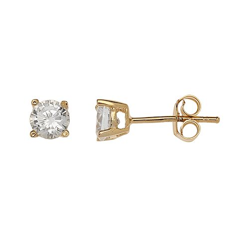 24k Gold-Over-Silver Cubic Zirconia Stud Earrings
