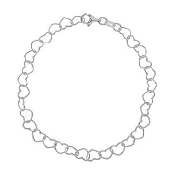 PRIMROSE Sterling Silver Heart Link Bracelet