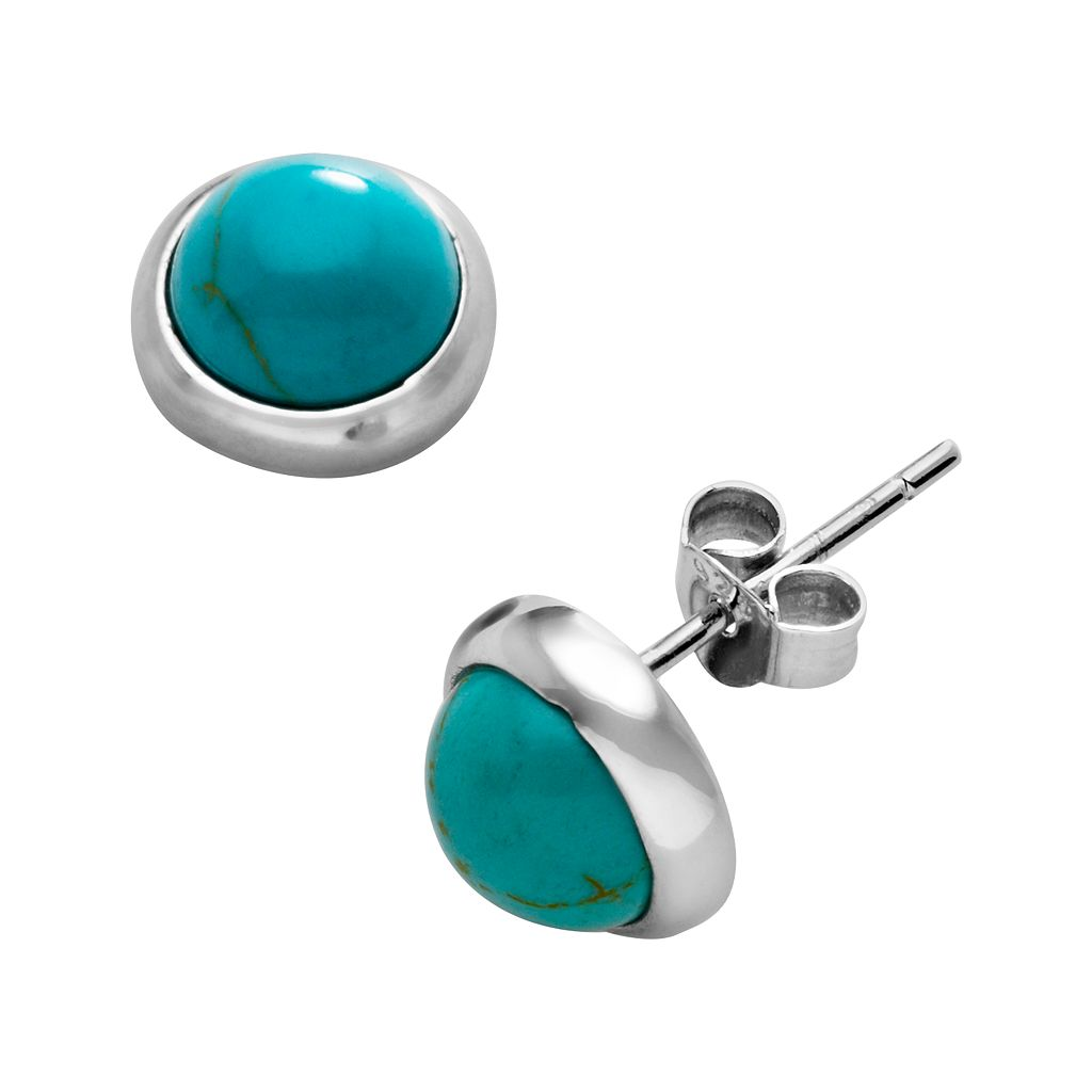 Sterling Silver Reconstituted Turquoise Stud Earrings