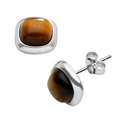 Sterling Silver Tigereye Stud Earrings