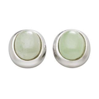 Sterling Silver Jade Stud Earrings