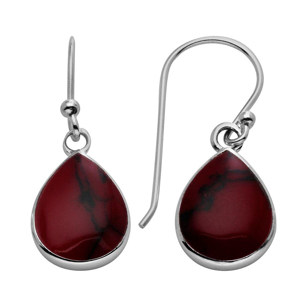 Sterling Silver Reconstituted Red Jasper Teardrop Earrings