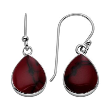 Sterling Silver Reconstituted Red Jasper Teardrop Earrings