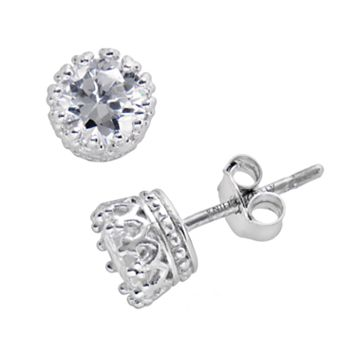 Sterling Silver Cubic Zirconia Crown Stud Earrings
