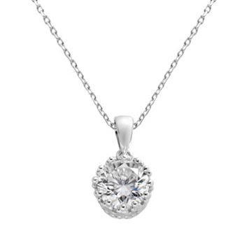 Sterling Silver Cubic Zirconia Crown Pendant