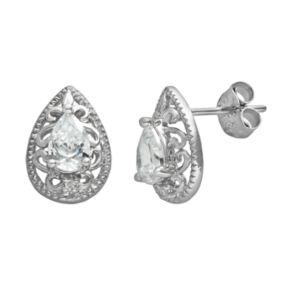 Sterling Silver Cubic Zirconia Teardrop Stud Earrings