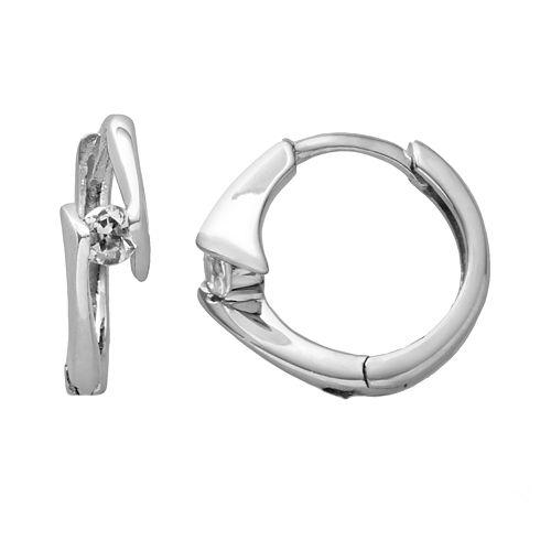 Sterling Silver Cubic Zirconia Bypass Hoop Earrings
