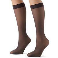Hanes® Silk Reflections® Lasting Sheer® 2-pk. Knee-Highs