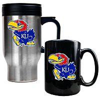 Kansas Jayhawks 2 pc Travel Mug Set