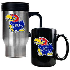Kansas Jayhawks 2 pc Travel Mug Set