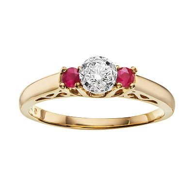 10k Gold .15-ct. T.W. Certified Round-Cut Diamond and Ruby Ring