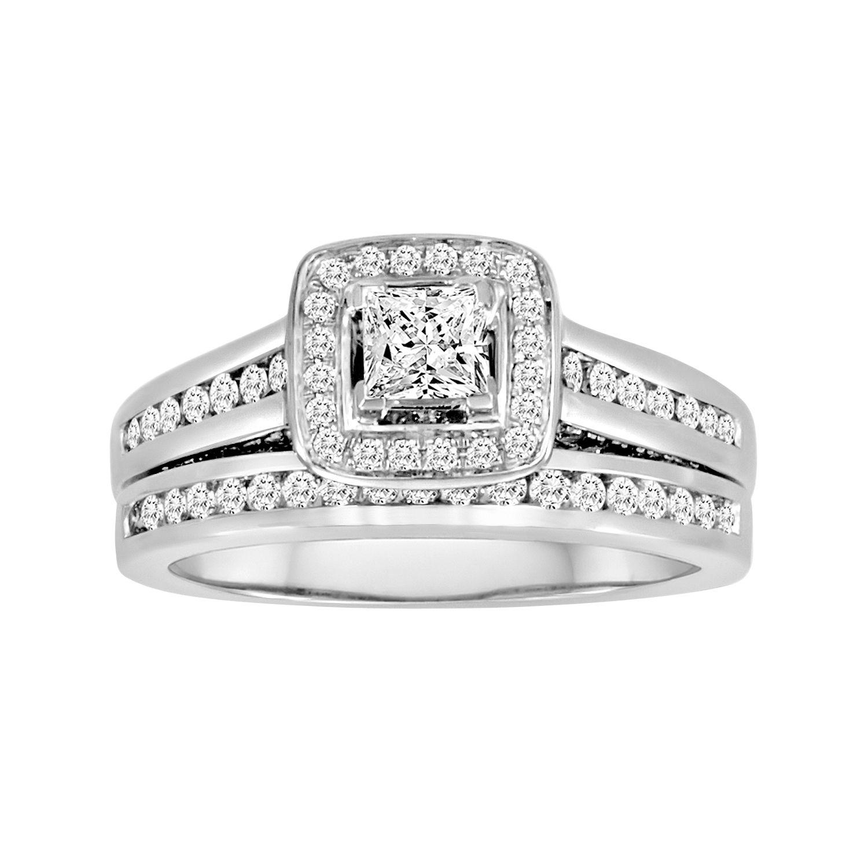 Wedding Rings Sets White Gold 43 Fancy Princess Cut IGI Certified