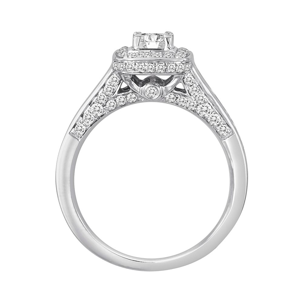 Princesscut Igi Certified Diamond Engagement Ring Set In 14k White Gold (1  Ct Tw)