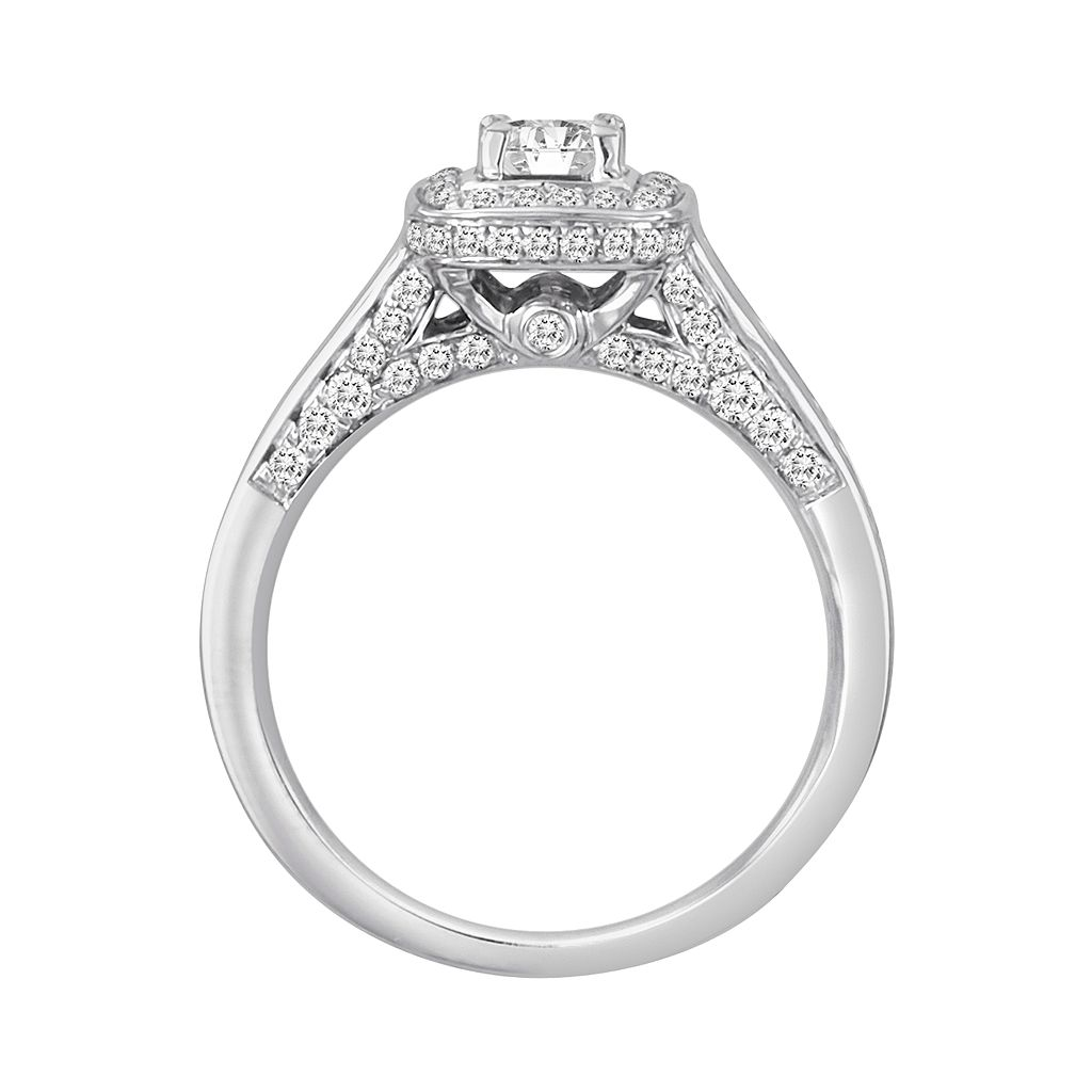 Princess-Cut IGI Certified Diamond Engagement Ring Set in 14k White Gold (1 ct. T.W.)