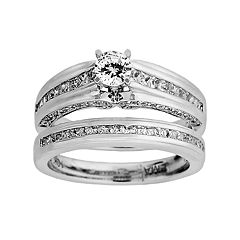 14k White Gold 1 ctT.W. Round-Cut IGI Certified Diamond Ring Set