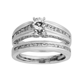 14k White Gold 1-ct. T.W. Round-Cut IGI Certified Diamond Ring Set