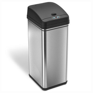 iTouchless Deodorizer 13-gallon Stainless Steel Touchless Trash Can With Carbon Filter Technology