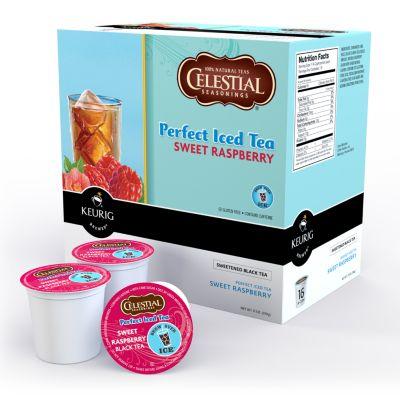 Keurig K-Cup Portion Pack Celestial Seasonings Perfect Iced Tea Sweet Raspberry Black Tea - 16-pk.