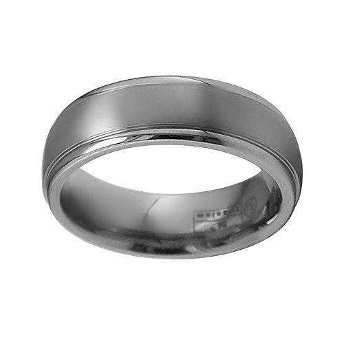 STI by Spectore Gray Titanium Striped Wedding Band - Men
