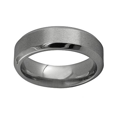 Spectore Gray Titanium Beveled Band - Men