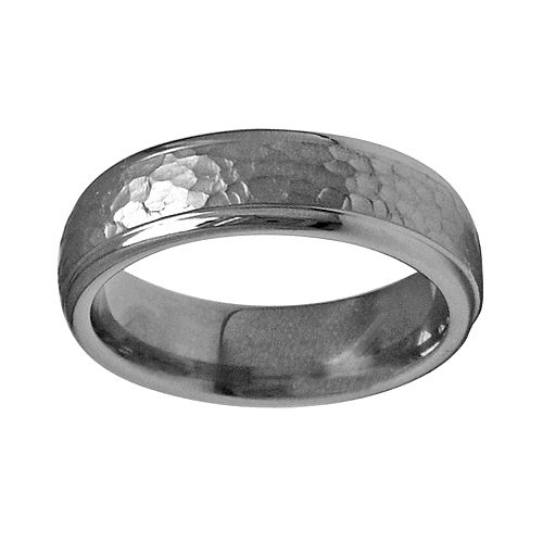 STI by Spectore Gray Titanium Hammered Wedding Band - Men