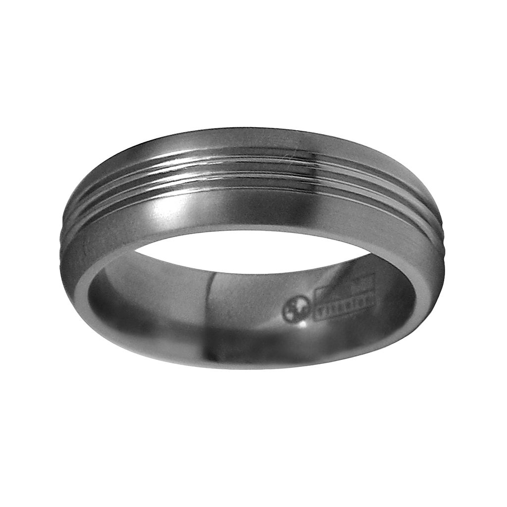 STI by Spectore Gray Titanium Grooved Wedding Band - Men