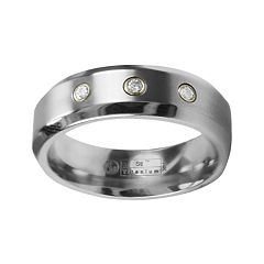 STI by Spectore Gray Titanium Diamond Accent Wedding Band - Men