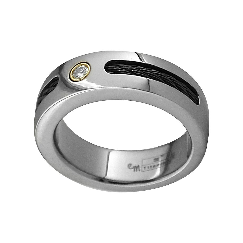 STI by Spectore Titanium 1/10-ct. T.W. Diamond Cable Wedding Band - Men