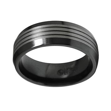 STI by Spectore Black and Gray Titanium Striped Wedding Band - Men