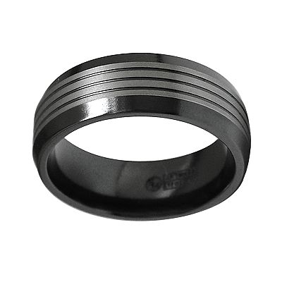 Spectore Black and Gray Titanium Striped Band - Men