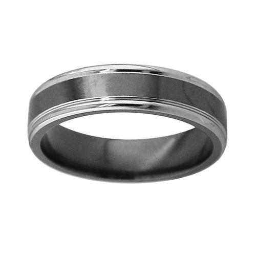 STI by Spectore Black and Gray Titanium Stripe Wedding Band - Men