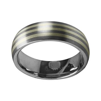 STI by Spectore Gray Titanium & Sterling Silver Stripe Wedding Band - Men