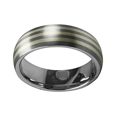 Spectore Gray Titanium and Sterling Silver Stripe Band - Men