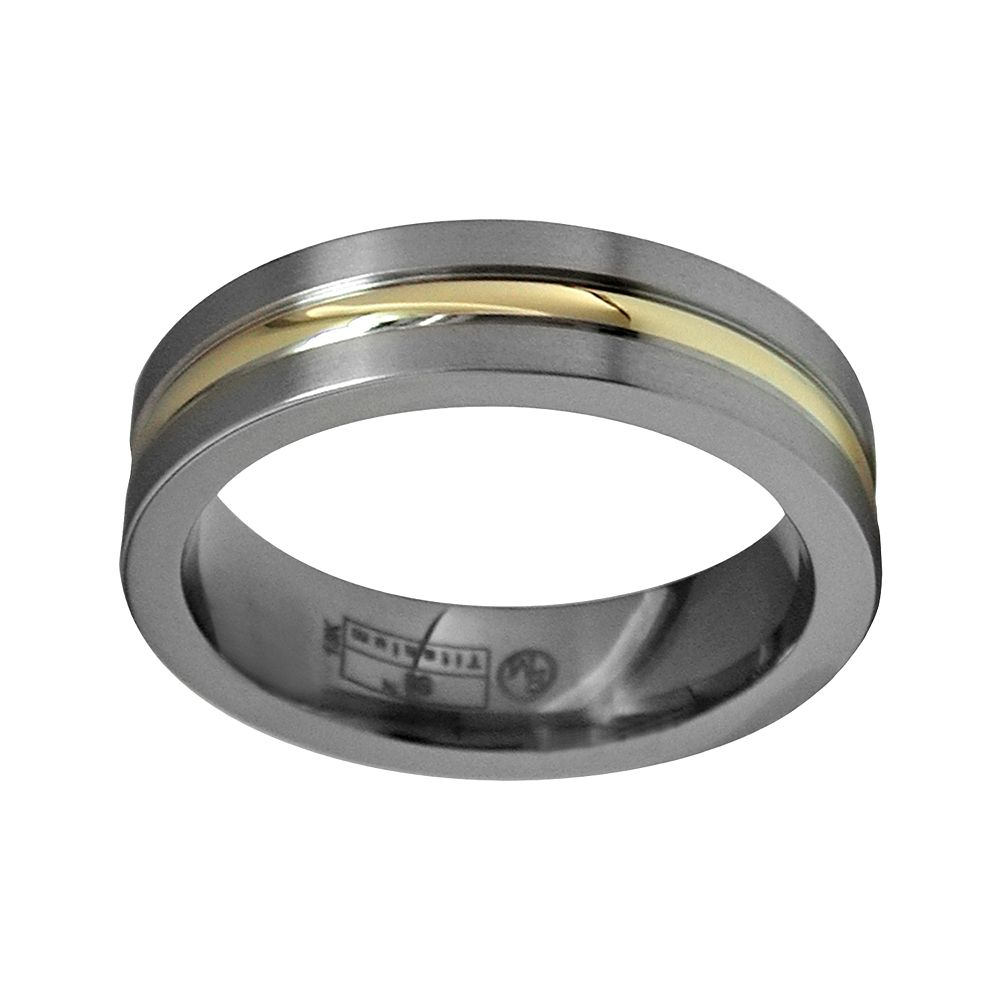 Wedding Band For Men.Sti By Spectore 14k Gold Gray Titanium Striped Wedding Band Men