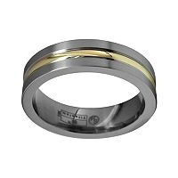 STI by Spectore 14k Gold & Gray Titanium Striped Wedding Band - Men