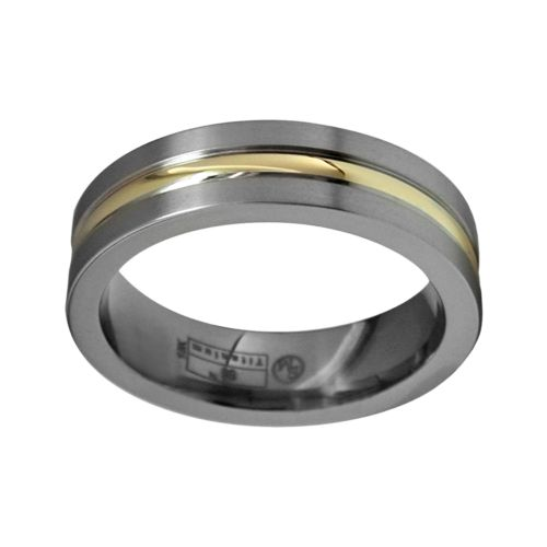 STI by Spectore 14k Gold and Gray Titanium Striped Wedding Band - Men