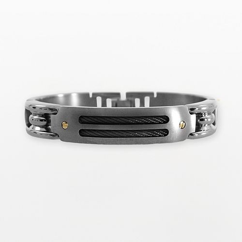 STI by Spectore 18k Gold & Gray Titanium 8 1/2-in. Cable Bracelet - Men