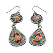 Mudd Silver-Tone Floral Drop Earrings