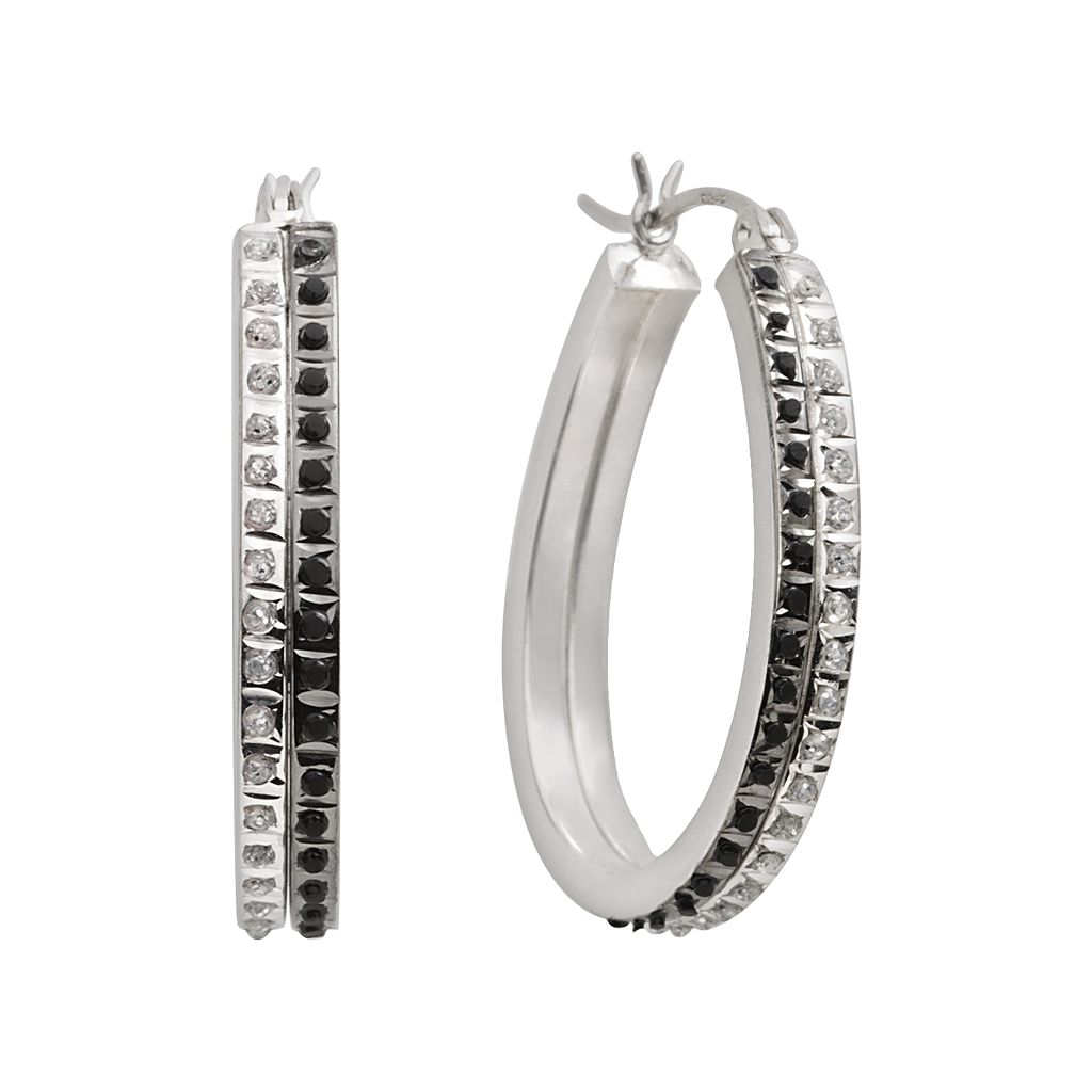 Diamond Mystique™ Platinum Over Silver Black & White Diamond Accent Hoop Earrings