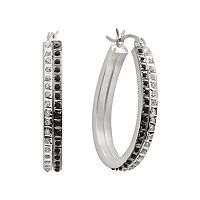 Diamond Mystique™ Platinum Over Silver Black & White Diamond Accent Hoop Earrings