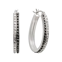 Diamond Mystique Platinum Over Silver Black White Accent Hoop Earrings