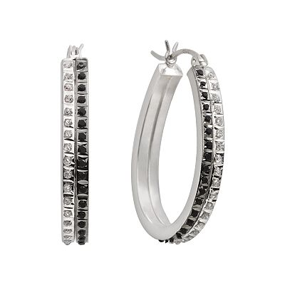 Diamond Mystique Platinum Over Silver Black and White Diamond Accent Hoop Earrings