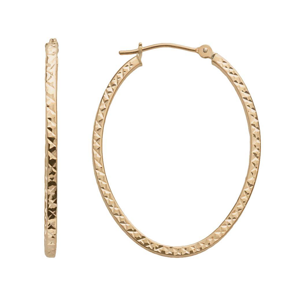 14k Gold Oval Hoop Earrings